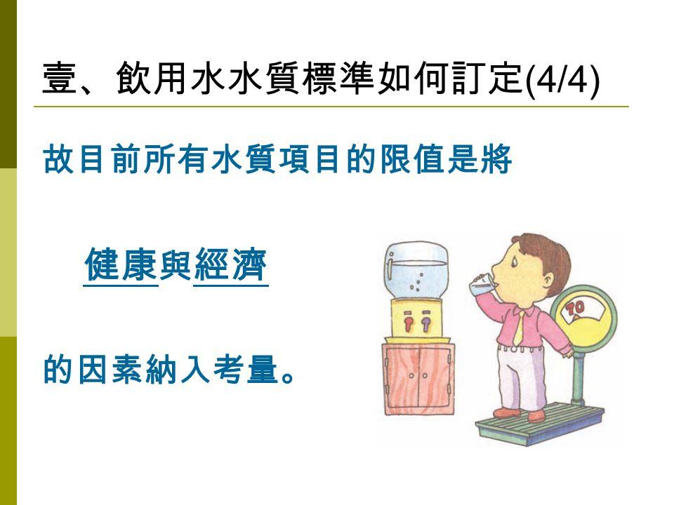 壹、飲用水水質標準如何訂定 (4/4) 故目前所有水質項目的限值是將 健康 與 經濟 的因素納入考量。