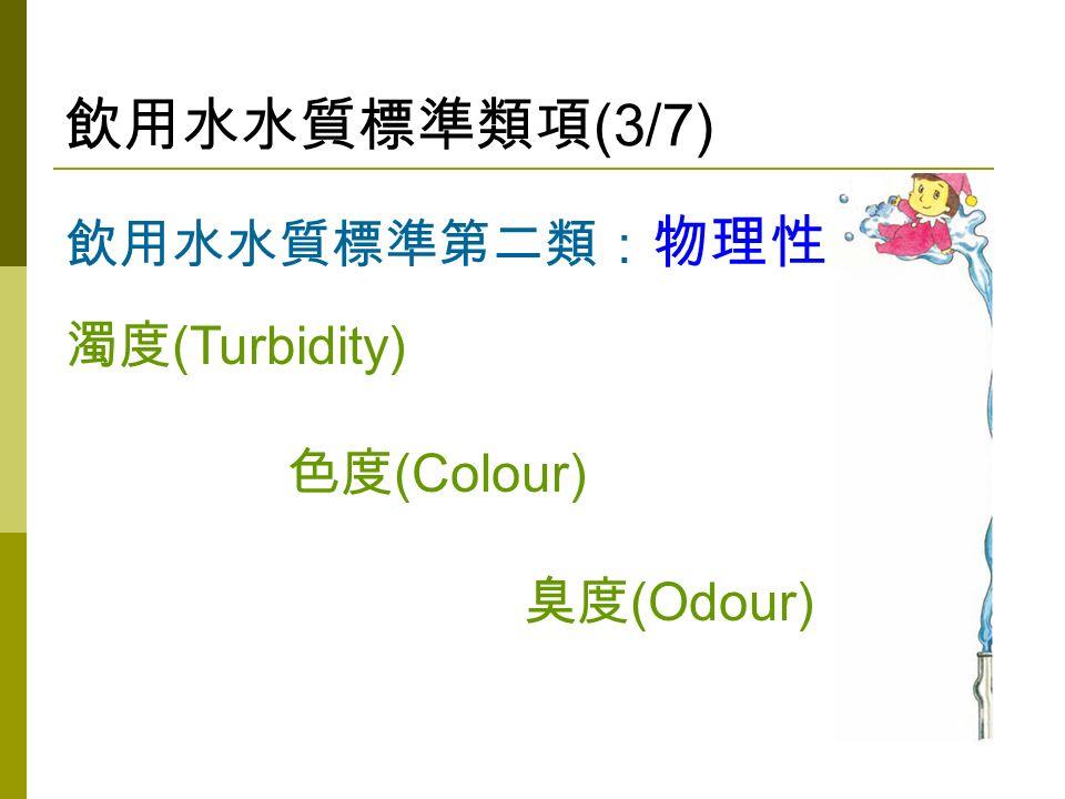 飲用水水質標準類項 (3/7) 飲用水水質標準第二類: 物理性 濁度 (Turbidity) 色度 (Colour) 臭度 (Odour)