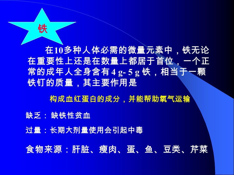 微量元素 必需元素: Fe Zn Cu Mn I F 有害元素: Hg 非必需元素: Al 、 Ba 、 Ti 等