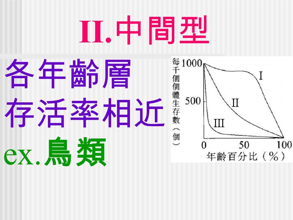 II. 中間型 各年齡層 存活率相近 ex. 鳥類