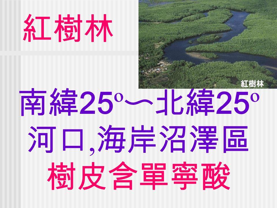 紅樹林 南緯 25 º 〜北緯 25 º 河口, 海岸沼澤區 樹皮含單寧酸