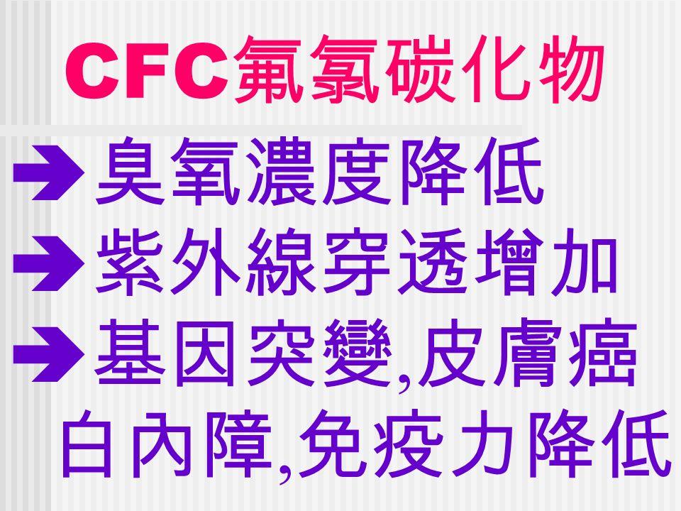 CFC 氟氯碳化物  臭氧濃度降低  紫外線穿透增加  基因突變, 皮膚癌 白內障, 免疫力降低