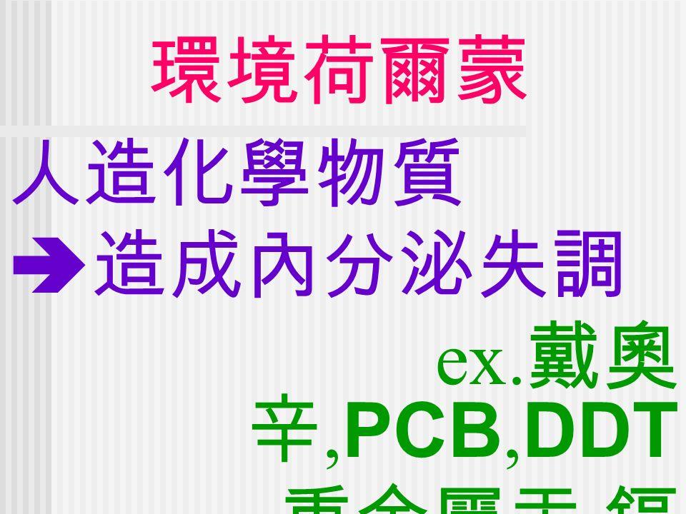 環境荷爾蒙 人造化學物質  造成內分泌失調 ex. 戴奧 辛, PCB, DDT 重金屬汞, 鎘