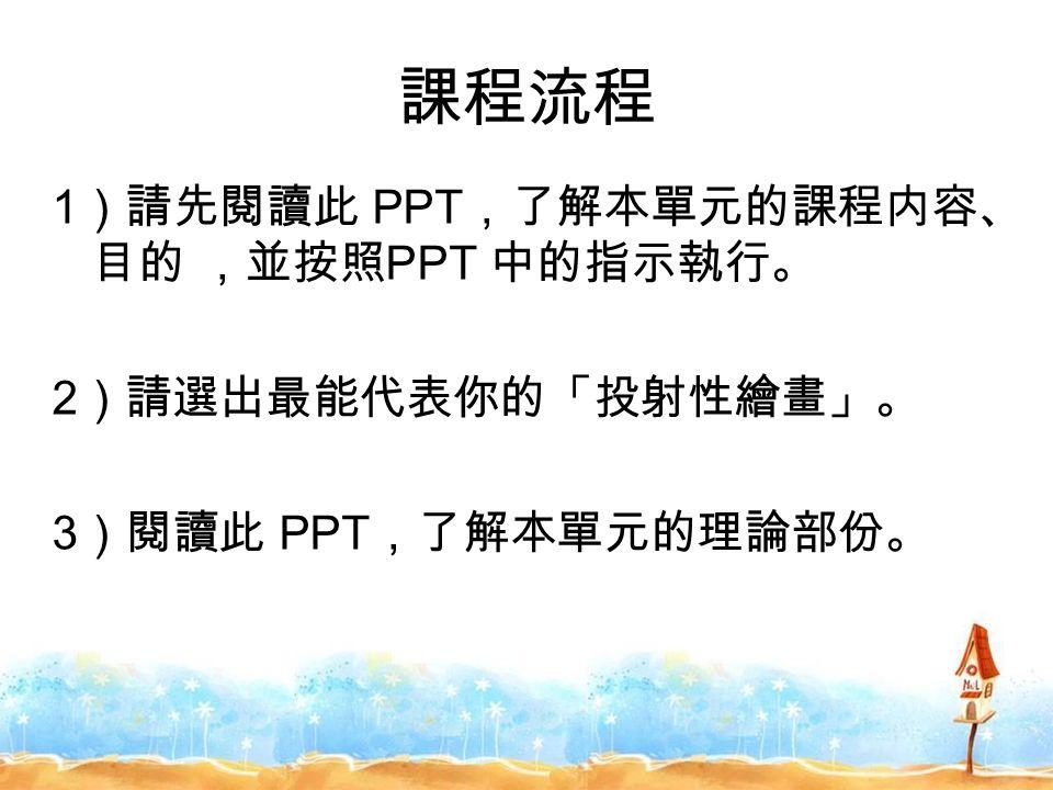 課程流程 1 )請先閱讀此 PPT ,了解本單元的課程内容、 目的 ,並按照 PPT 中的指示執行。 2 )請選出最能代表你的「投射性繪畫」。 3 )閱讀此 PPT ,了解本單元的理論部份。