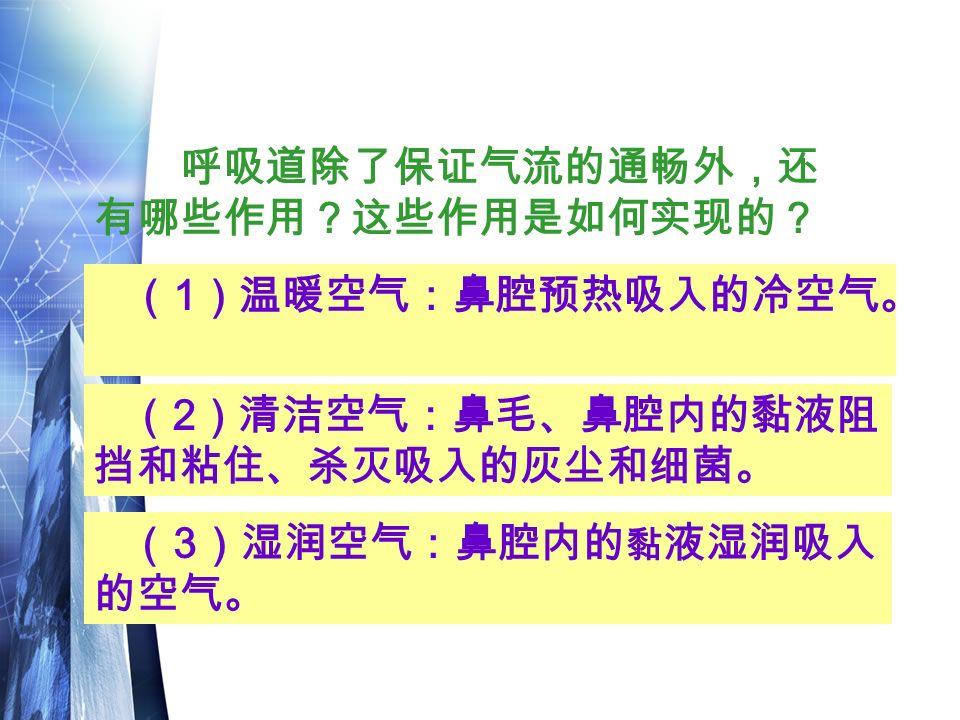 呼吸道除了保证气流的通畅外,还 有哪些作用?这些作用是如何实现的? ( 2 )清洁空气:鼻毛、鼻腔内的黏液阻 挡和粘住、杀灭吸入的灰尘和细菌。 ( 1 )温暖空气:鼻腔预热吸入的冷空气。 ( 3 )湿润空气:鼻腔内的 黏 液湿润吸入 的空气。