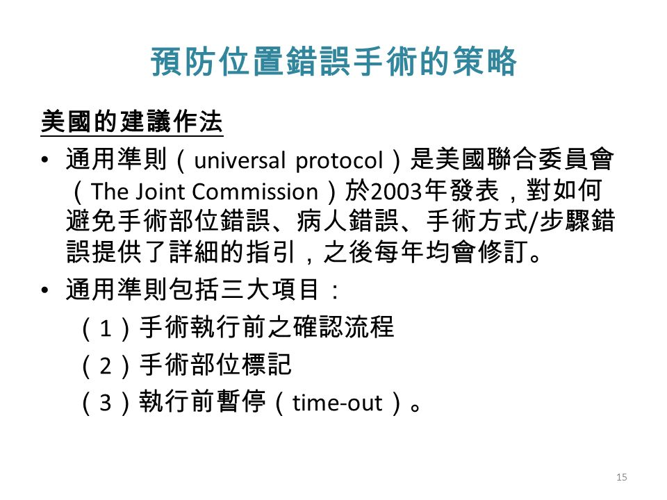 預防位置錯誤手術的策略 美國的建議作法 通用準則( universal protocol )是美國聯合委員會 ( The Joint Commission )於 2003 年發表,對如何 避免手術部位錯誤、病人錯誤、手術方式 / 步驟錯 誤提供了詳細的指引,之後每年均會修訂。 通用準則包括三大項目: ( 1 )手術執行前之確認流程 ( 2 )手術部位標記 ( 3 )執行前暫停( time-out )。 15