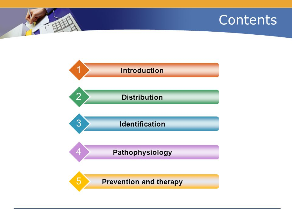 Contents Introduction 1 Distribution 2 Identification 3 Prevention and therapy 5 Pathophysiology 4