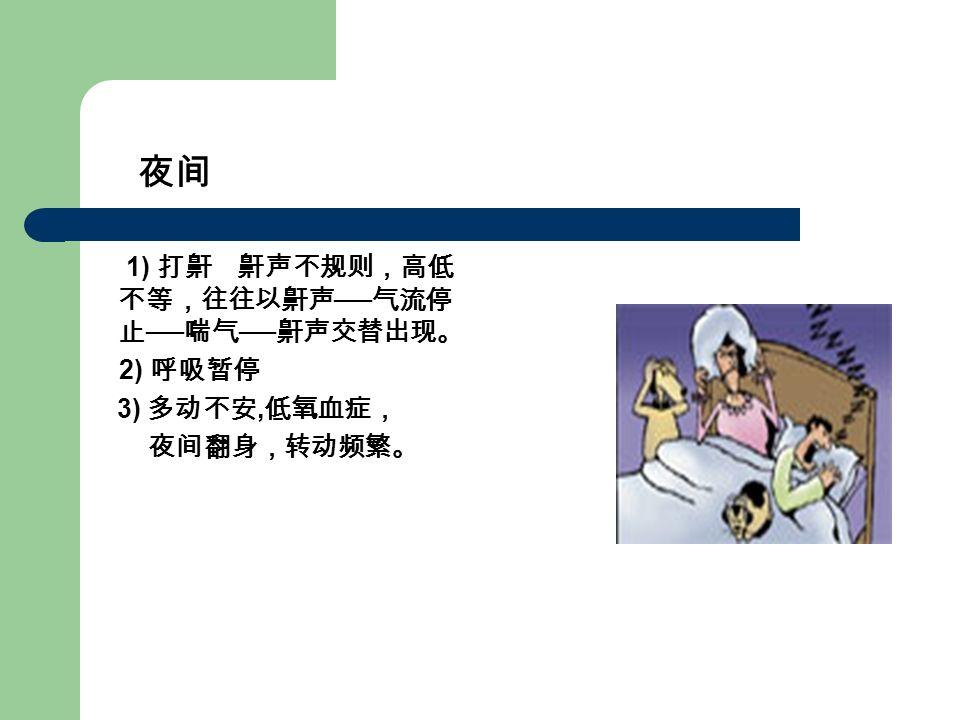 1) 打鼾 鼾声不规则,高低 不等,往往以鼾声 ── 气流停 止 ── 喘气 ── 鼾声交替出现。 2) 呼吸暂停 3) 多动不安, 低氧血症, 夜间翻身,转动频繁。 夜间