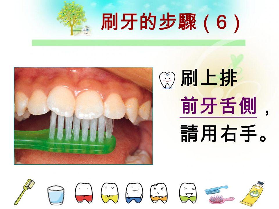 刷牙的步驟( 5 ) 刷左上舌 側,請用 右手。