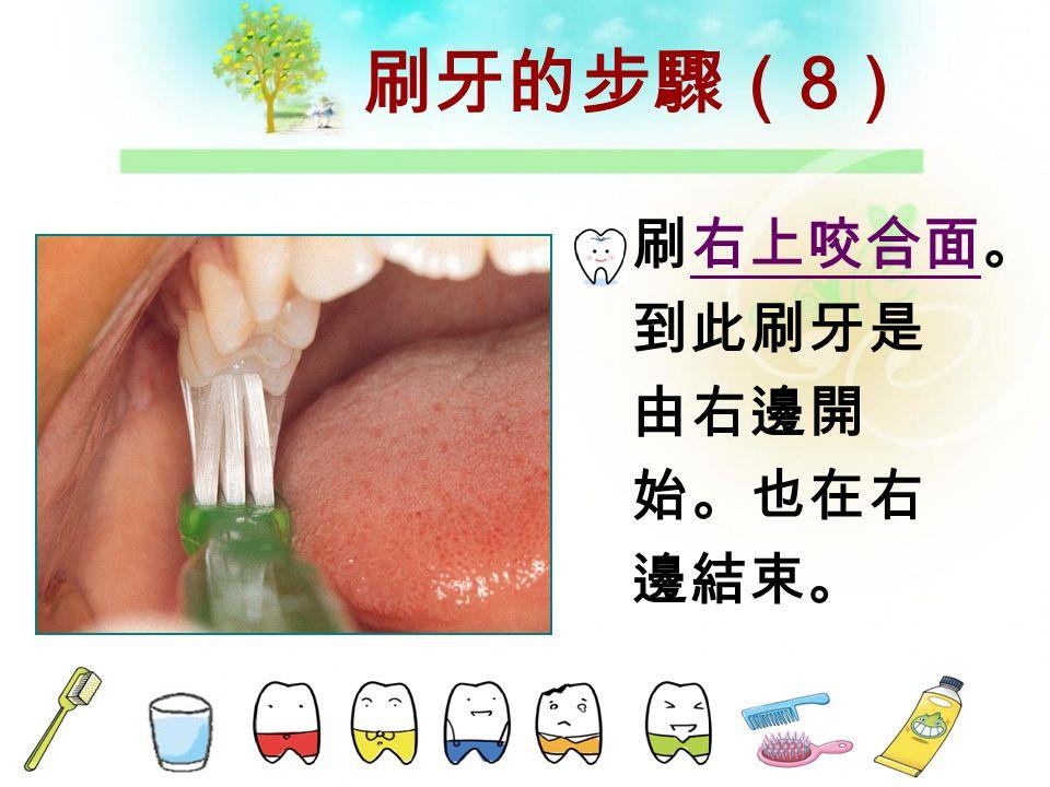 刷牙的步驟( 7 ) 刷右上舌側, 請用左手。