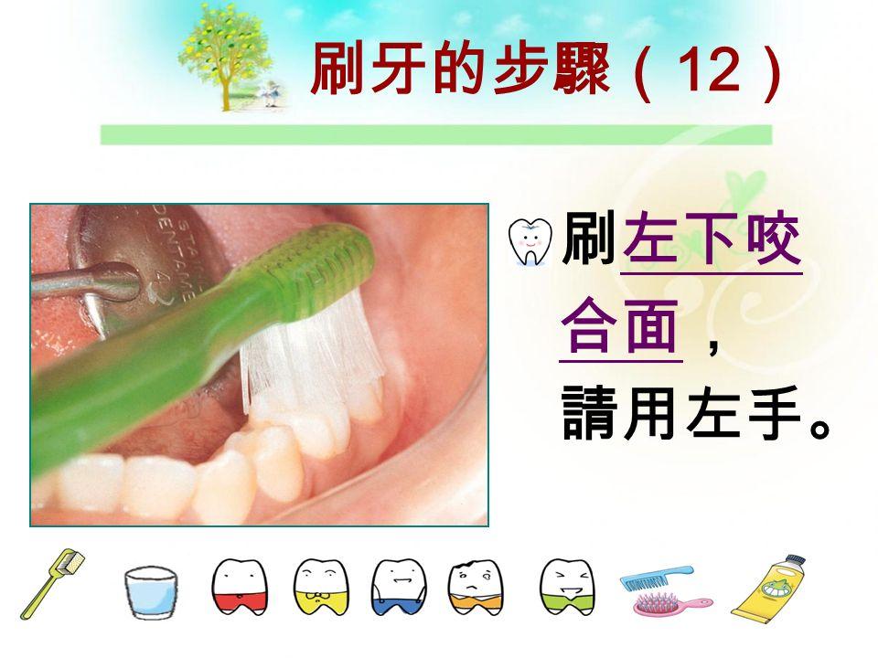 刷牙的步驟( 11 ) 刷左下頰 側,請用 左手。