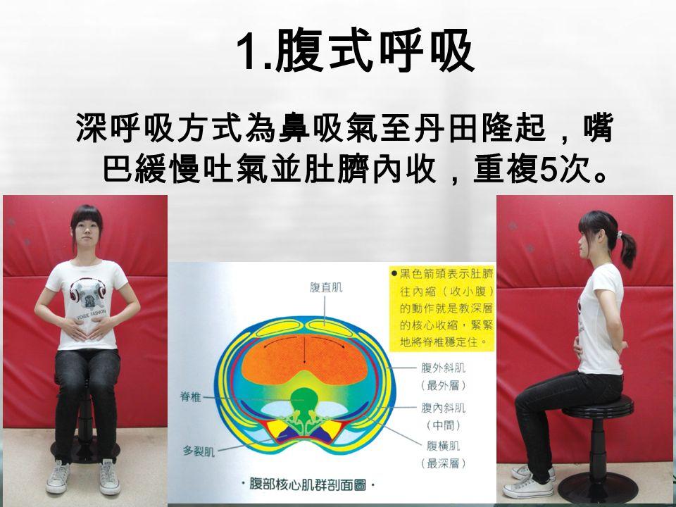 1. 腹式呼吸 深呼吸方式為鼻吸氣至丹田隆起,嘴 巴緩慢吐氣並肚臍內收,重複 5 次。