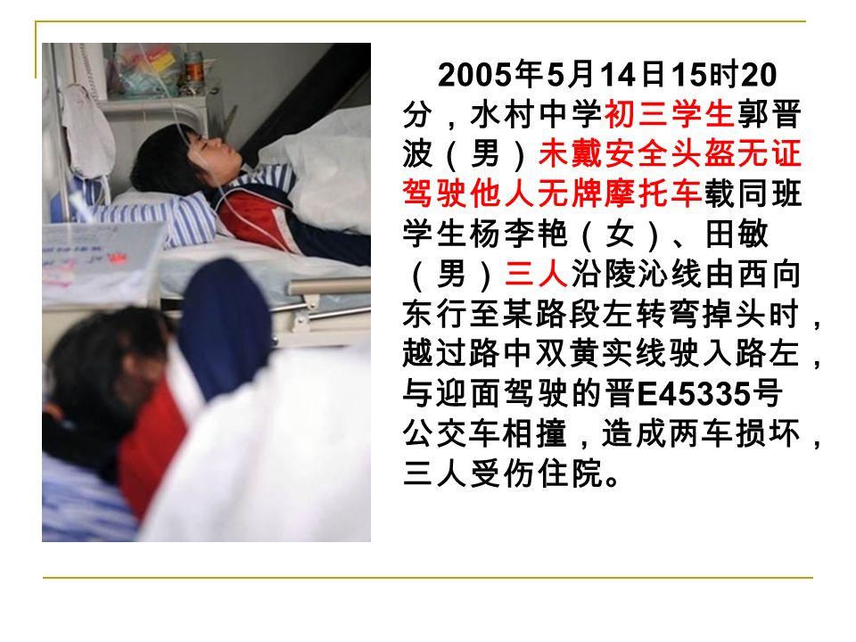2005 年 5 月 14 日 15 时 20 分,水村中学初三学生郭晋 波(男)未戴安全头盔无证 驾驶他人无牌摩托车载同班 学生杨李艳(女)、田敏 (男)三人沿陵沁线由西向 东行至某路段左转弯掉头时, 越过路中双黄实线驶入路左, 与迎面驾驶的晋 E45335 号 公交车相撞,造成两车损坏, 三人受伤住院。