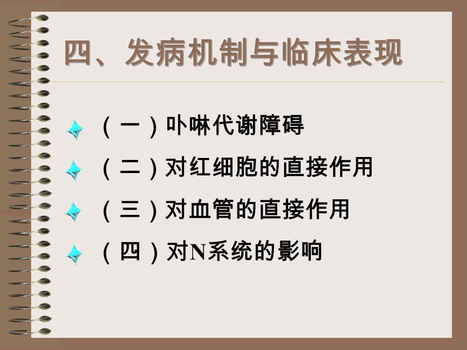 铅 呼吸道(吸收 25%-30% ) 消化道(吸收 成人 5%-10% 儿童、孕妇约 50% ) 血液 Pb HP0 4 内脏 ( 肝肾 ) Pb 3 (P0 4 ) 2 骨骼 、牙齿、毛发等 (对机体起保护作用) 排出 肾脏 其他 注 : 缺钙、感染、外伤、服酸碱性药均可使骨骼中 的 Pb 3 (P0 4 ) 2 Pb HP0 4 血液 中毒 铅中毒高危人群 铅作业人、儿童、 孕妇、胎儿