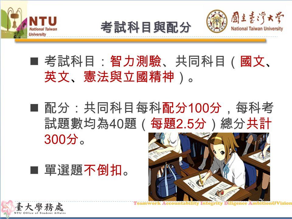 考試日期、科目與地點