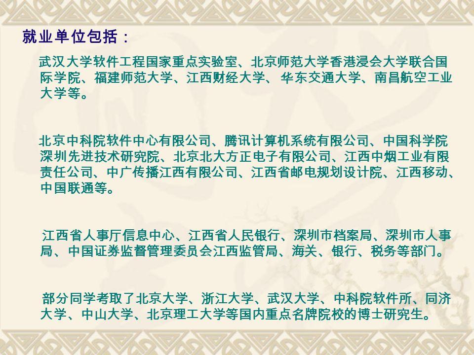 就业单位包括: 武汉大学软件工程国家重点实验室、北京师范大学香港浸会大学联合国 际学院、福建师范大学、江西财经大学、 华东交通大学、南昌航空工业 大学等。 北京中科院软件中心有限公司、腾讯计算机系统有限公司、中国科学院 深圳先进技术研究院、北京北大方正电子有限公司、江西中烟工业有限 责任公司、中广传播江西有限公司、江西省邮电规划设计院、江西移动、 中国联通等。 江西省人事厅信息中心、江西省人民银行、深圳市档案局、深圳市人事 局、中国证券监督管理委员会江西监管局、海关、银行、税务等部门。 部分同学考取了北京大学、浙江大学、武汉大学、中科院软件所、同济 大学、中山大学、北京理工大学等国内重点名牌院校的博士研究生。