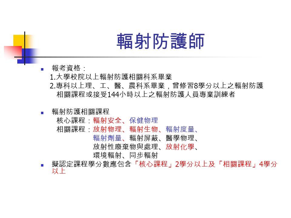 輻射防護師 報考資格: 1. 大學校院以上輻射防護相關科系畢業 2.
