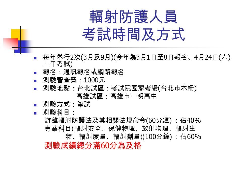 輻射防護人員 考試時間及方式 每年舉行 2 次 (3 月及 9 月 )( 今年為 3 月 1 日至 8 日報名、 4 月 24 日 ( 六 ) 上午考試 ) 報名:通訊報名或網路報名 測驗審查費: 1000 元 測驗地點:台北試區:考試院國家考場 ( 台北市木柵 ) 高雄試區:高雄市三明高中 測驗方式:筆試 測驗科目: 游離輻射防護法及其相關法規命令 (60 分鐘 ) :佔 40% 專業科目 ( 輻射安全、保健物理、放射物理、輻射生 物、輻射度量、輻射劑量 )(100 分鐘 ) :佔 60% 測驗成績總分滿 60 分為及格