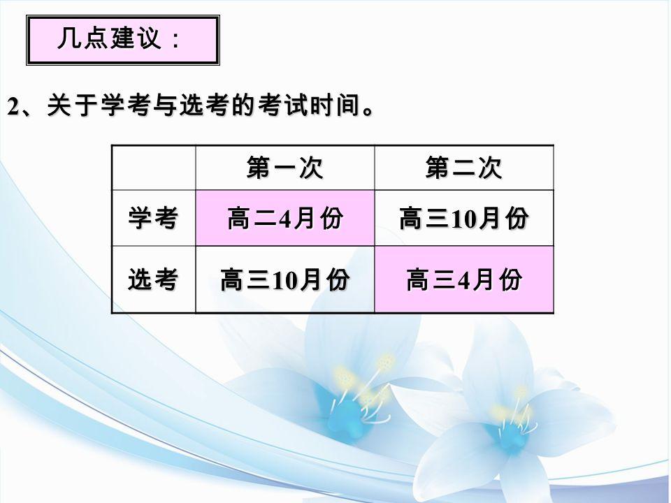 几点建议: 2 、关于学考与选考的考试时间。 第一次第二次学考 高二 4 月份 高三 10 月份 选考 高三 4 月份 高二 4 月份 高三 10 月份 高三 4 月份