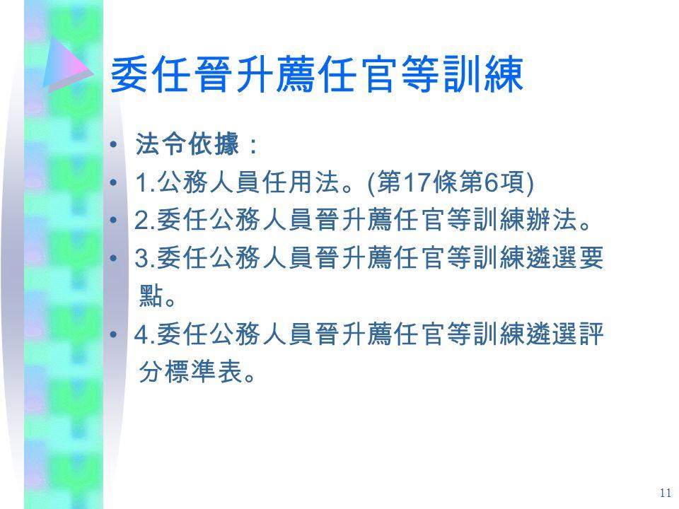 11 委任晉升薦任官等訓練 法令依據: 1. 公務人員任用法。 ( 第 17 條第 6 項 ) 2.