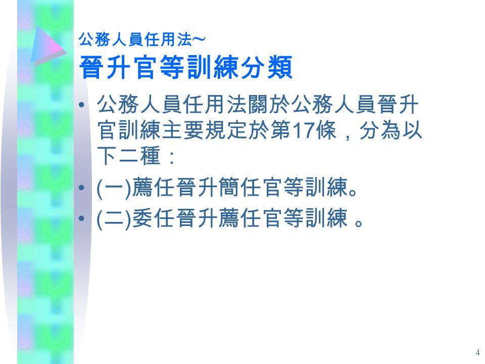4 公務人員任用法 ~ 晉升官等訓練分類 公務人員任用法關於公務人員晉升 官訓練主要規定於第 17 條,分為以 下二種: ( 一 ) 薦任晉升簡任官等訓練。 ( 二 ) 委任晉升薦任官等訓練 。