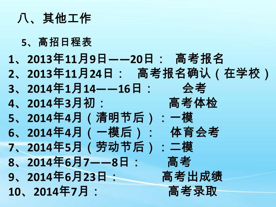 八、其他工作 5 、高招日程表 1 、 2013 年 11 月 9 日 ——20 日: 高考报名 2 、 2013 年 11 月 24 日: 高考报名确认(在学校) 3 、 2014 年 1 月 14——16 日: 会考 4 、 2014 年 3 月初: 高考体检 5 、 2014 年 4 月(清明节后):一模 6 、 2014 年 4 月(一模后): 体育会考 7 、 2014 年 5 月(劳动节后):二模 8 、 2014 年 6 月 7——8 日: 高考 9 、 2014 年 6 月 23 日: 高考出成绩 10 、 2014 年 7 月: 高考录取