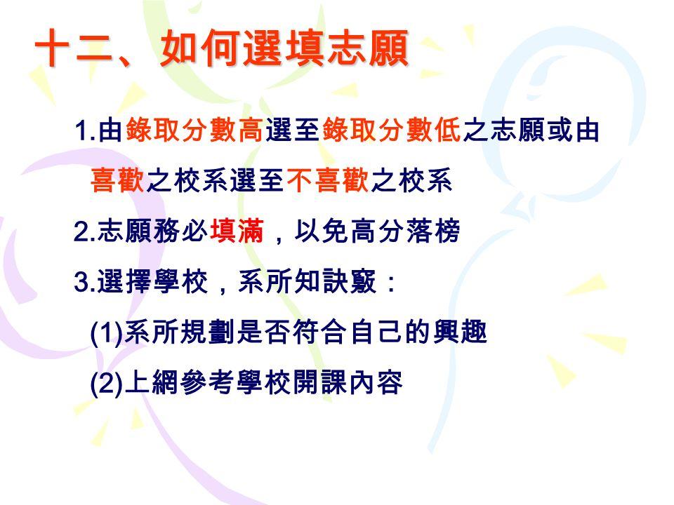 十二、如何選填志願 1. 由錄取分數高選至錄取分數低之志願或由 喜歡之校系選至不喜歡之校系 2. 志願務必填滿,以免高分落榜 3.