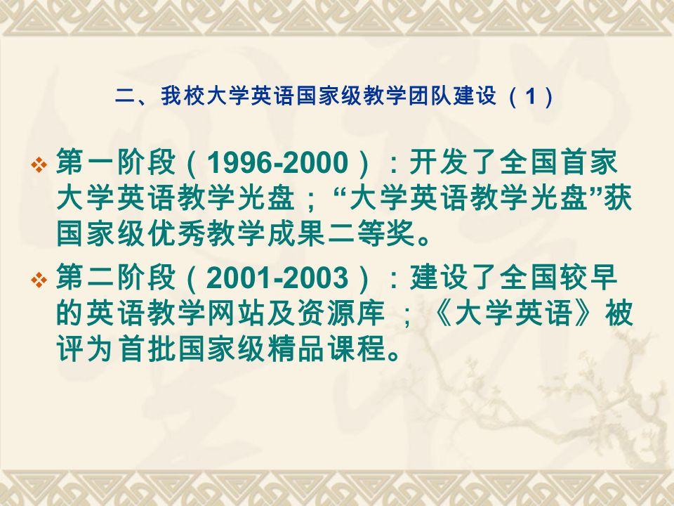 二、我校大学英语国家级教学团队建设 ( 1 )  第一阶段( 1996-2000 ):开发了全国首家 大学英语教学光盘; 大学英语教学光盘 获 国家级优秀教学成果二等奖。  第二阶段( 2001-2003 ):建设了全国较早 的英语教学网站及资源库 ;《大学英语》被 评为首批国家级精品课程。