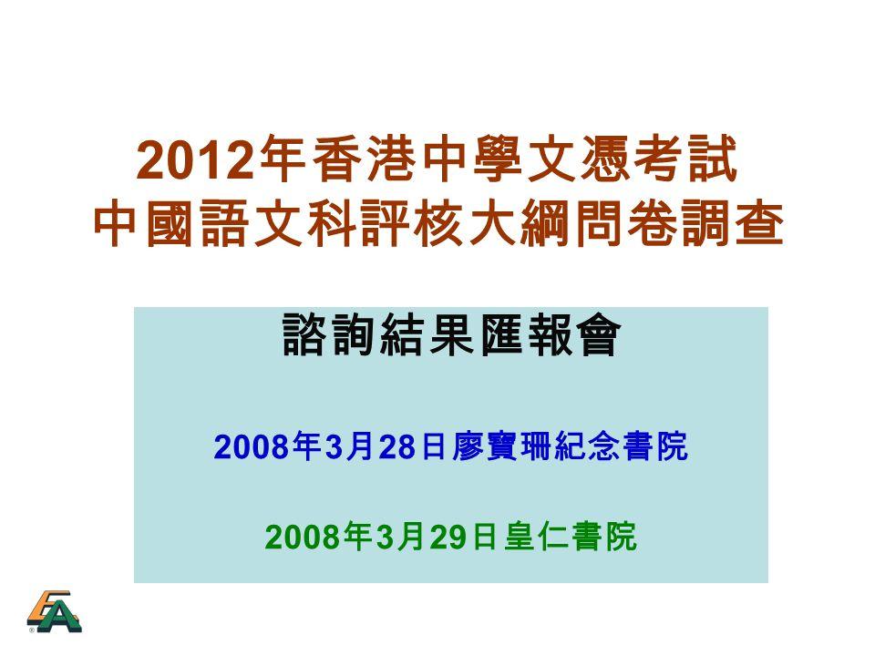 諮詢結果匯報會 2008 年 3 月 28 日廖寶珊紀念書院 2008 年 3 月 29 日皇仁書院 2012 年香港中學文憑考試 中國語文科評核大綱問卷調查