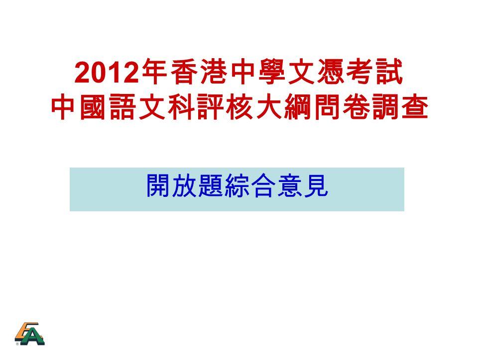 2012 年香港中學文憑考試 中國語文科評核大綱問卷調查 開放題綜合意見