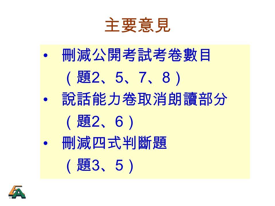 主要意見 刪減公開考試考卷數目 (題 2 、 5 、 7 、 8 ) 說話能力卷取消朗讀部分 (題 2 、 6 ) 刪減四式判斷題 (題 3 、 5 )