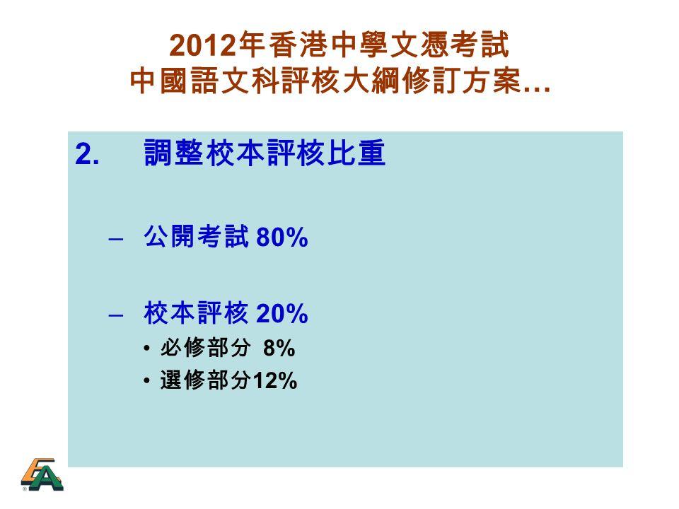 2012 年香港中學文憑考試 中國語文科評核大綱修訂方案 … 2. 調整校本評核比重 – 公開考試 80% – 校本評核 20% 必修部分 8% 選修部分 12%