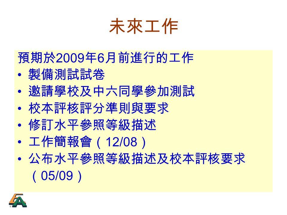 未來工作 預期於 2009 年 6 月前進行的工作 製備測試試卷 邀請學校及中六同學參加測試 校本評核評分準則與要求 修訂水平參照等級描述 工作簡報會( 12/08 ) 公布水平參照等級描述及校本評核要求 ( 05/09 )