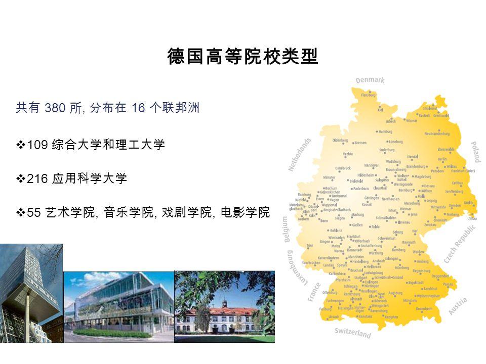 德国高等院校类型 共有 380 所, 分布在 16 个联邦洲  109 综合大学和理工大学  216 应用科学大学  55 艺术学院, 音乐学院, 戏剧学院, 电影学院