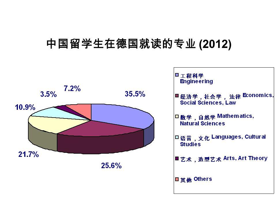中国留学生在德国就读的专业 (2012)