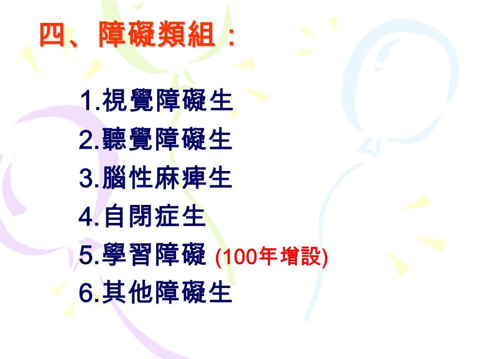 四、障礙類組: 1. 視覺障礙生 2. 聽覺障礙生 3. 腦性麻痺生 4. 自閉症生 5. 學習障礙 (100 年增設 ) 6. 其他障礙生