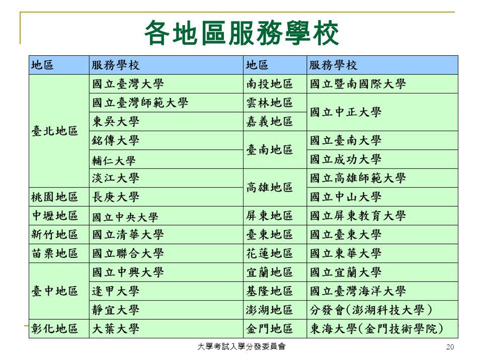 大學考試入學分發委員會 20 各地區服務學校