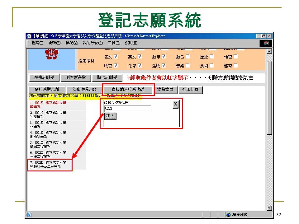 大學考試入學分發委員會 32 登記志願系統