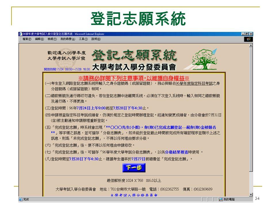 大學考試入學分發委員會 34 登記志願系統