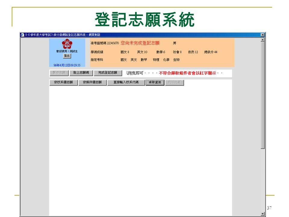 大學考試入學分發委員會 37 登記志願系統