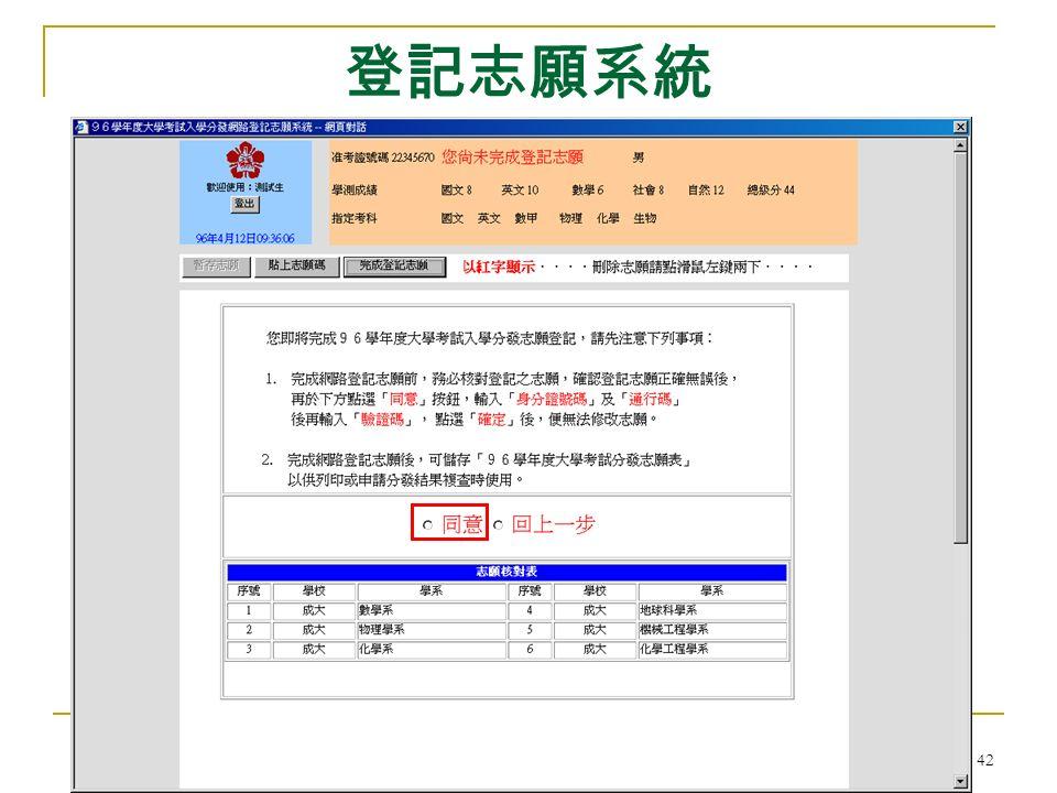大學考試入學分發委員會 42 登記志願系統