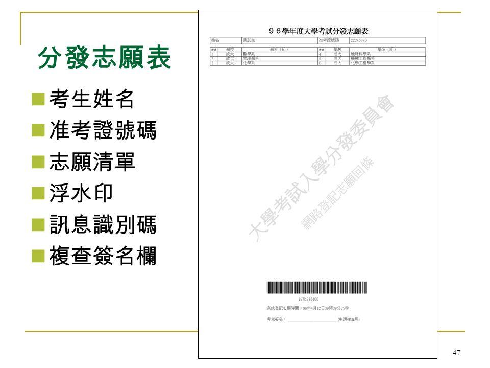 大學考試入學分發委員會 47 考生姓名 准考證號碼 志願清單 浮水印 訊息識別碼 複查簽名欄 分發志願表