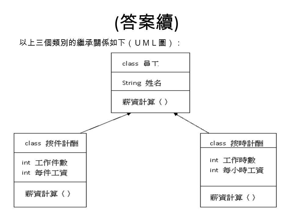 ( 答案續 ) 以上三個類別的繼承關係如下(UML圖):