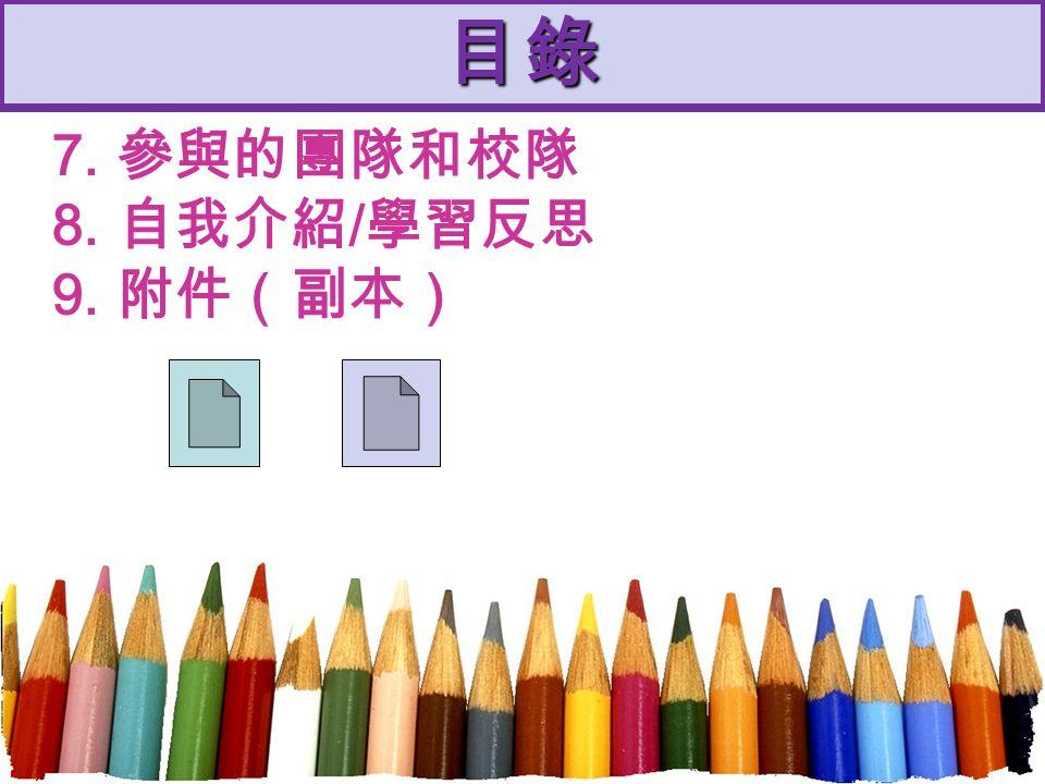 目錄 7. 參與的團隊和校隊 8. 自我介紹 / 學習反思 9. 附件(副本)