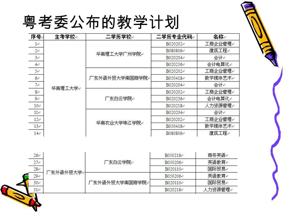 粤考委公布的教学计划