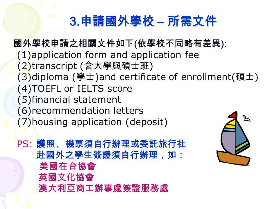 3. 申請國外學校 – 所需文件 3.
