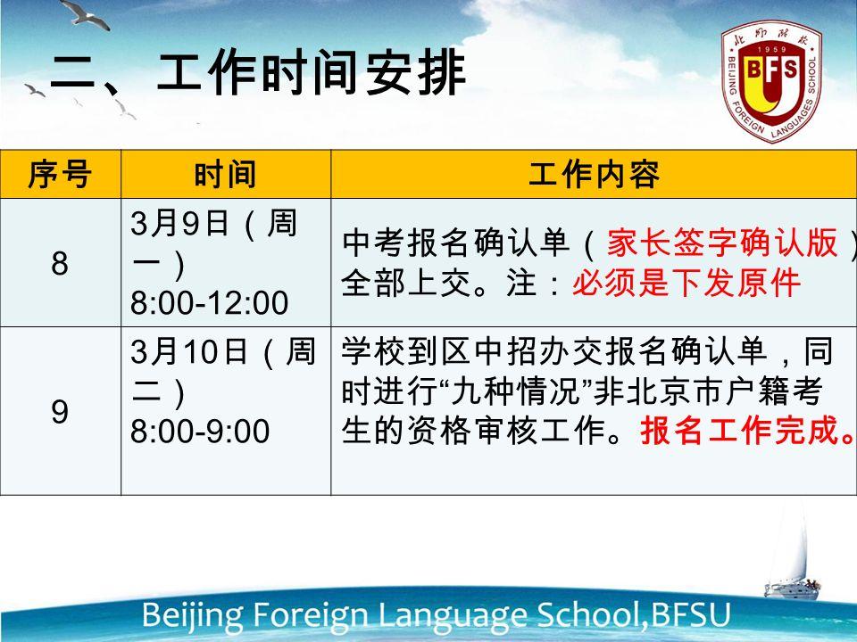 序号时间工作内容 8 3 月 9 日(周 一) 8:00-12:00 中考报名确认单(家长签字确认版) 全部上交。注:必须是下发原件 9 3 月 10 日(周 二) 8:00-9:00 学校到区中招办交报名确认单,同 时进行 九种情况 非北京市户籍考 生的资格审核工作。报名工作完成。 二、工作时间安排