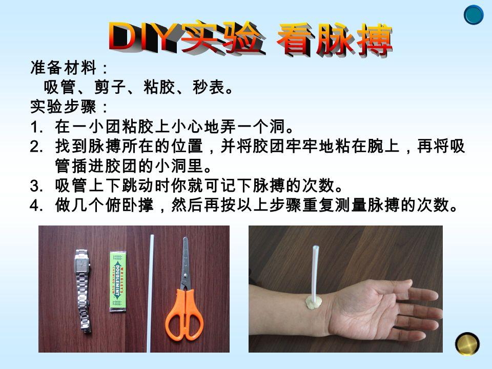 准备材料: 吸管、剪子、粘胶、秒表。 实验步骤: 1. 在一小团粘胶上小心地弄一个洞。 2. 找到脉搏所在的位置,并将胶团牢牢地粘在腕上,再将吸 管插进胶团的小洞里。 3.