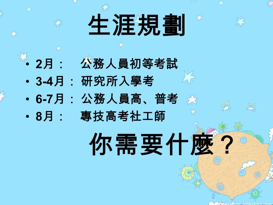 生涯規劃 2 月: 公務人員初等考試 3-4 月: 研究所入學考 6-7 月: 公務人員高、普考 8 月: 專技高考社工師 你需要什麼?
