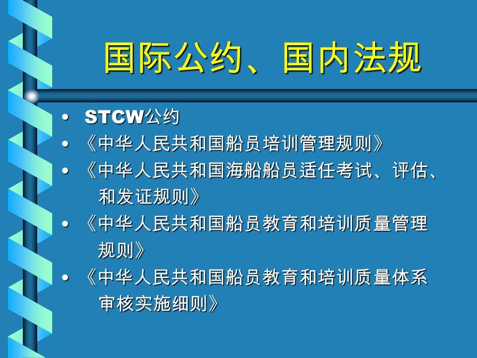 国际公约、国内法规 STCW 公约 STCW 公约 《中华人民共和国船员培训管理规则》 《中华人民共和国船员培训管理规则》 《中华人民共和国海船船员适任考试、评估、 《中华人民共和国海船船员适任考试、评估、 和发证规则》 和发证规则》 《中华人民共和国船员教育和培训质量管理 《中华人民共和国船员教育和培训质量管理 规则》 规则》 《中华人民共和国船员教育和培训质量体系 《中华人民共和国船员教育和培训质量体系 审核实施细则》 审核实施细则》